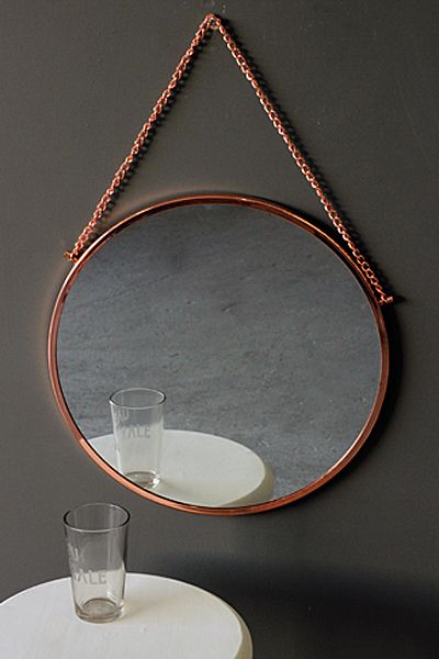 Bonlina Copper Circular Mirror On Chain Bathroom Mirror