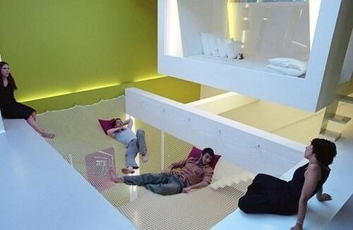 Chill-out on a trampoline bed