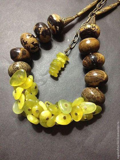 """Колье """"Васаби"""" - оливковый,шоколад и оливки,украшения ручной работы,украшения"""