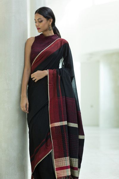 Black and Red textued hand woven saree