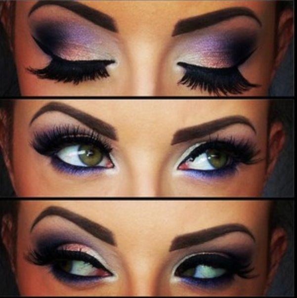 Purple makeup. Lovveeee the lashes!