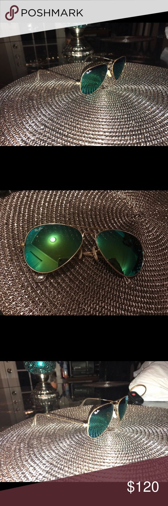 Blue green mirror ray-ban aviators Only worn once or twice, no scratches trying to sell because I'm looking for the smaller size these are too big for my face, these are the standard sized ray-bans. (Price negotiable if reasonable) Ray-Ban Accessories Sunglasses