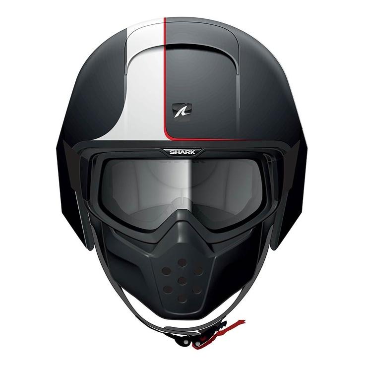 Shark Raw Streetfighter Helmet - Stripe / Matt Black - THE CAFE RACER | FREE UK DELIVERY