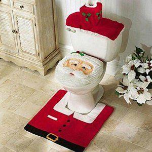 Lot de 3 décorations de Noël housse de siège de toilette Santa & tapis et boîte de mouchoirs couvercle ensemble