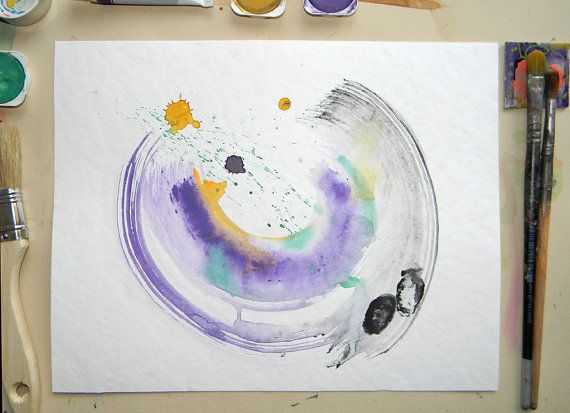 Original minimalist abstract watercolor with by AquarelleDream