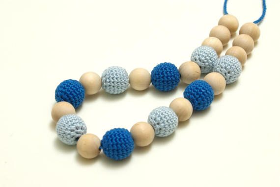 Nursing necklace teething necklace mommy and baby teething #Nursingnecklace, #blueteethingnecklace