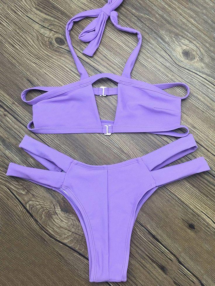 Strappy Cut Out Bikini - PURPLE XL