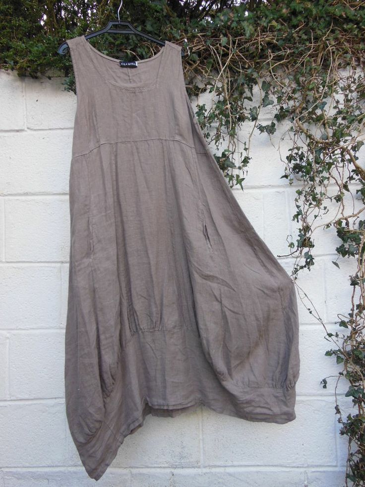 "LINEN MAXI DRESS TAUPE QUIRKY BALLOON SHAPE 42"" BUST BNWT LAGENLOOK ETHNIC"