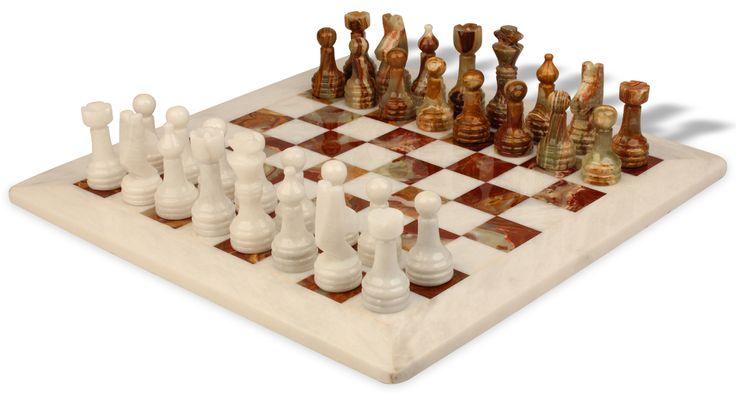 "Classic Multi-Green & White Onyx Chess Set - 12"" Board - The Chess Store"
