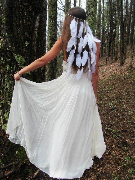 serre-tête plume blanche, nuptiale bandeau, boho mariée, mariage boho, accessoires de mariage, mariée, plume, plume casque, casque nuptiale