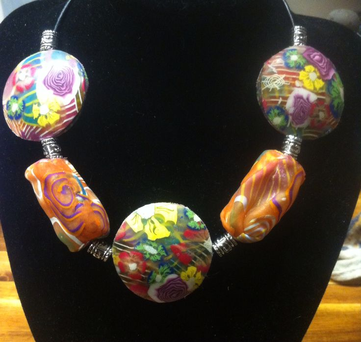 Polymer clay necklace #2015PCChallenge