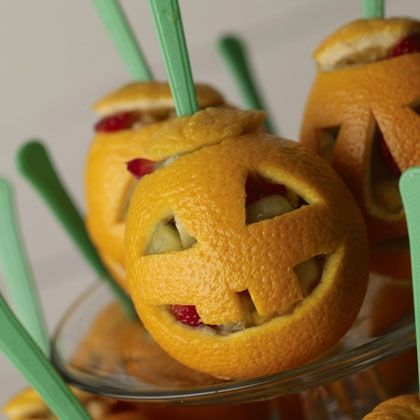 "Kids and grown-ups will love these healthy Snack-o'-Lanterns! Thanks for joining our ""Pin a Pumpkin"" Party!"