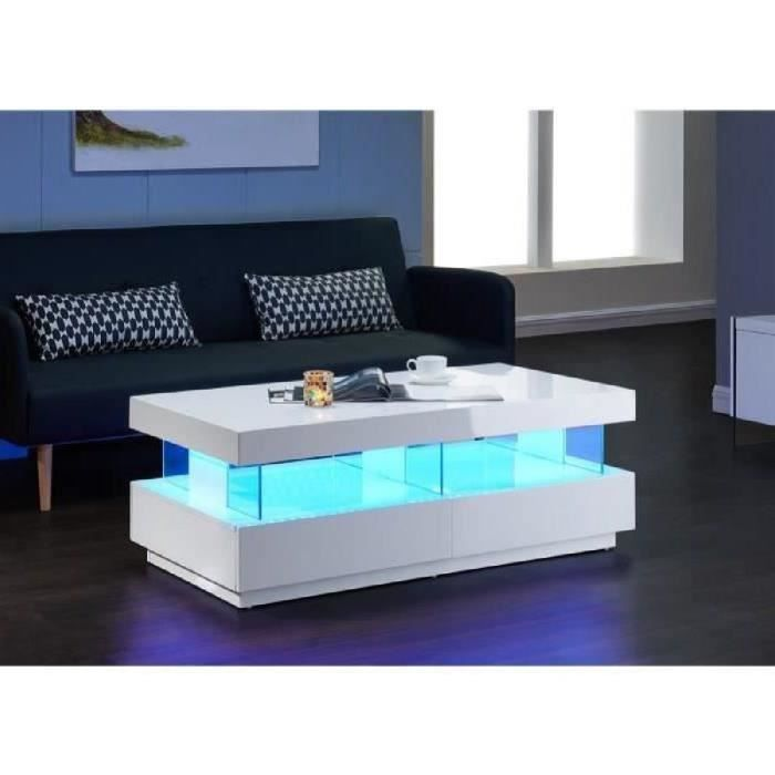 Light Table Basse Led Contemporain Laque Blanc Brillant 120cm Table Basse Led Table Basse Table Basse Blanche