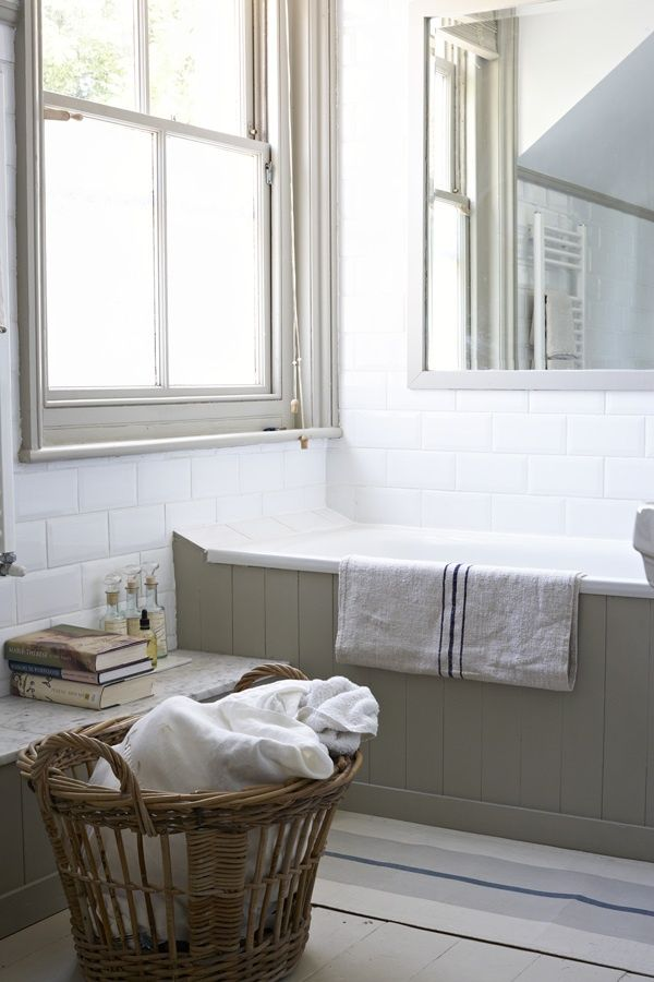 period style white bathroom with tongue and groove - NB sloping tile at bath head