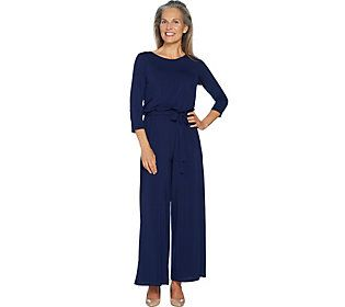 Joan Rivers Regular Length Jersey Knit Jumpsuit with 3/4 Sleeves
