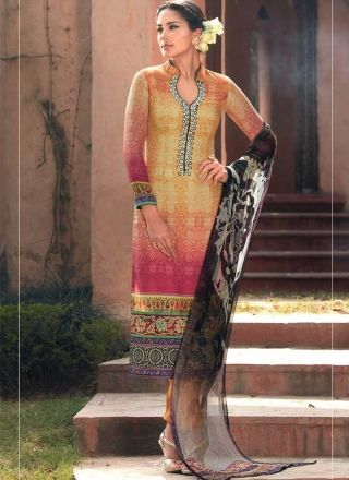 Magical Mustard Mirror Work Printed Cotton Silk Pakistani Suit http://www.angelnx.com/