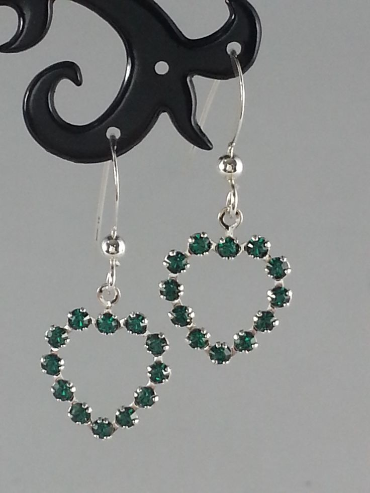 Dark green Swarovski crystal heart on sterling silver earrings
