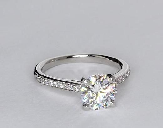 Heirloom Petite Cathedral Pave Diamond Engagement Ring in Platinum   Blue Nile