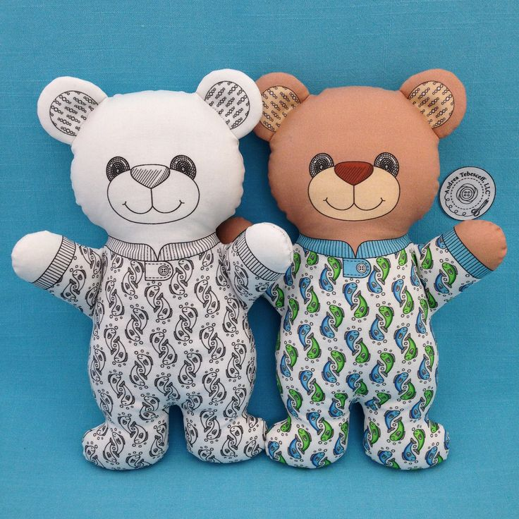 """Black and White or Color? Both """"Bear in Pajamas"""" are Cut and Sew Softie fabric panels. They are do it yourself sewing projects with the instructions on the fabric panels. You only need fusible fleece for the ears and stuffing to complete these 11 inch tall Bears. Also check out my Bunnies, Cats, and Dogs. They are available in my Spoonflower shop. Link in Profile."""