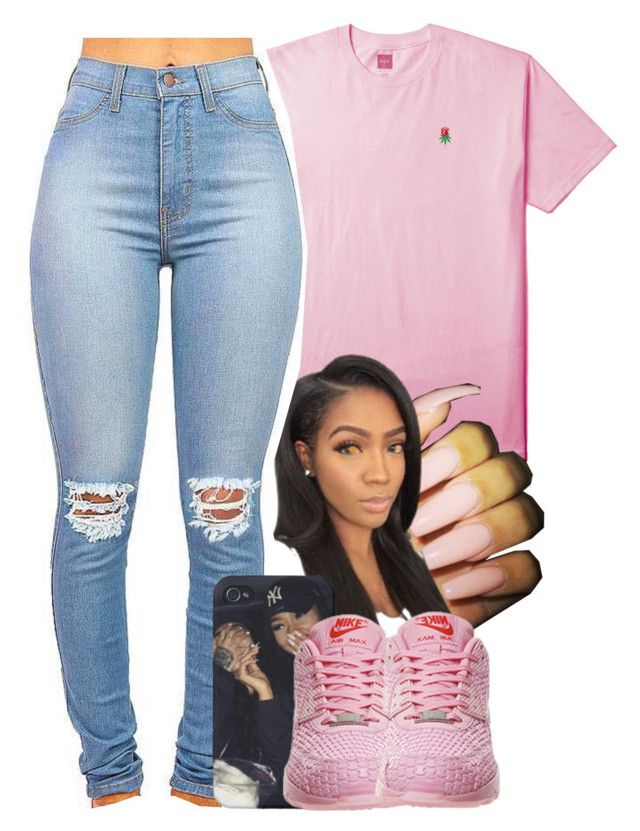 """rosebud"" by yeauxbriana ❤ liked on Polyvore featuring HUF and NIKE"