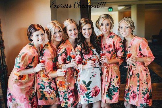 Coral trajes de damas de honor Kimono cruzado batas por silkandmore