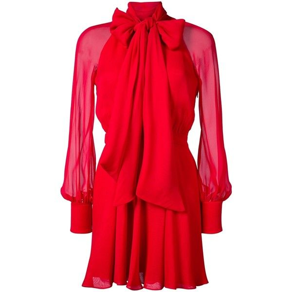 Haney Cinched Waist Dress ($1,980) ❤ liked on Polyvore featuring dresses, red, special occasion dresses, silk cocktail dress, red necktie, red neck tie and red silk dress