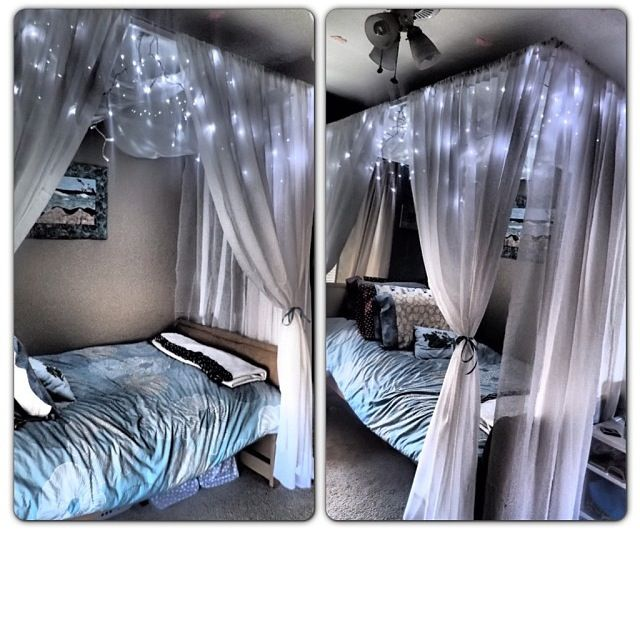 DIY BED CANOPY, add some lights to make the room extra cosy