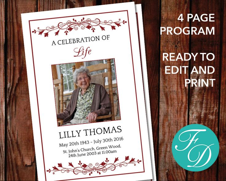 59 best Traditional Funeral Program Templates images on Pinterest - program for a funeral