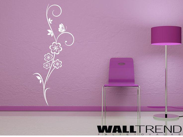 W 0114 Virág megpihenő lepkével faltetoválás - WALLtrend - faltetoválás, falmatrica, faldekoráció