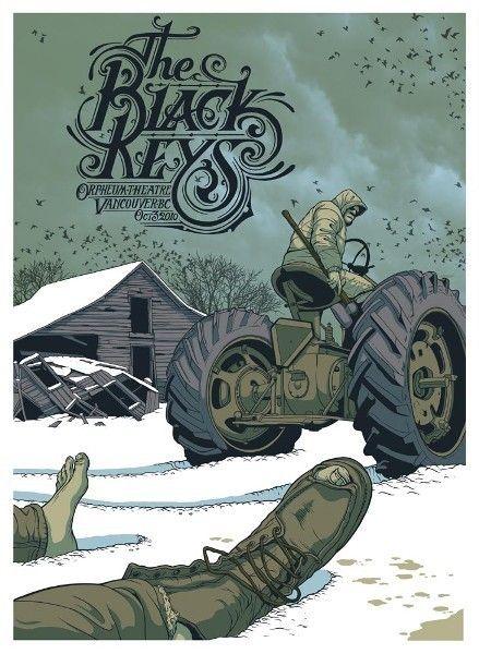Gig Poster graphics - great blog site http://hatchedlondon.com/blog/2012/06/25-beautiful-gig-posters/#  :- gig-poster-black-keys-2