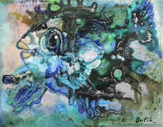 30x24cm Small Original Painting Acrylic colors Modern Art on canvas Wall Art by Inna Orlik