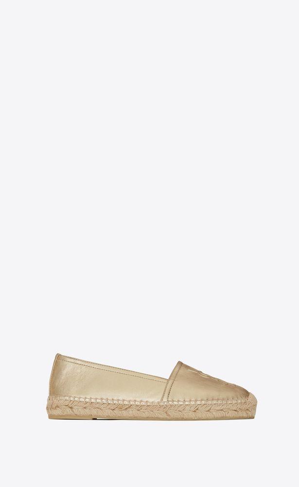 d84465ed49e SAINT LAURENT Espadrille Woman espadrille in pale gold metallic leather a V4