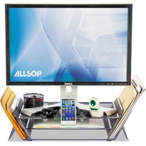 Allsop has product this Desk Tek Monitor stand to help keep your mobile device, monitor, file folders, notepads, etc. neatly organize and accessible with the Desk Tek Monitor stand. It has an integrated universal tablet or phone mount featured. With its modern design it can holds up to 40lbs. and it is easy-to-refresh the sticky pads.