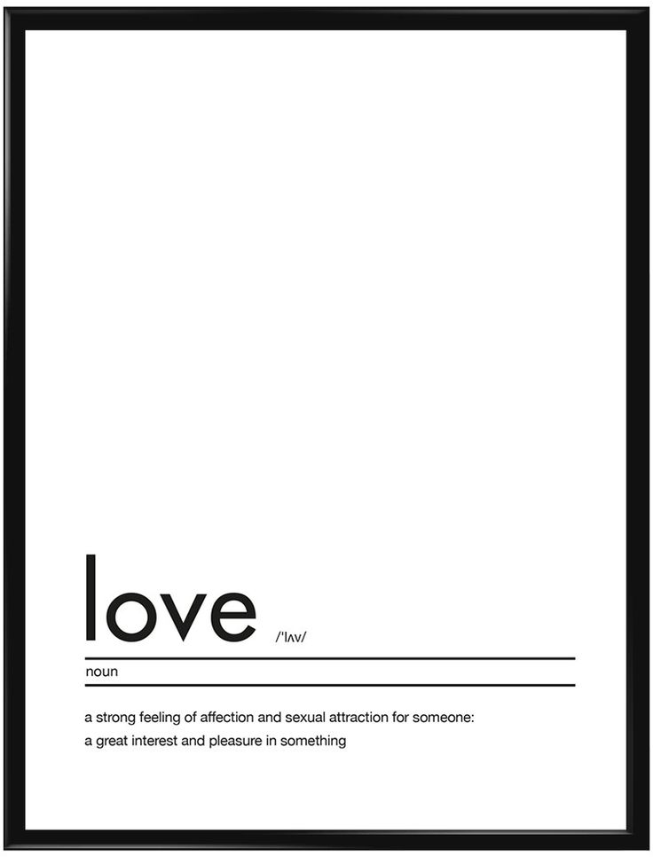 """Texttavla med en förklaring av ordet """"Love"""". Passar bra i vardagsrummet, hallen…"""