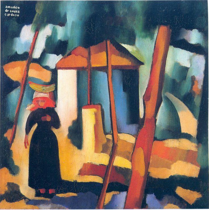 Landscape with black figure by @artistcardoso #souzacardoso #expressionism