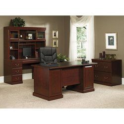 Complete Executive Desk Set // This complete executive desk set includes an executive desk, a credenza, a hutch and a lateral file-- everything you need to stay productive at work!