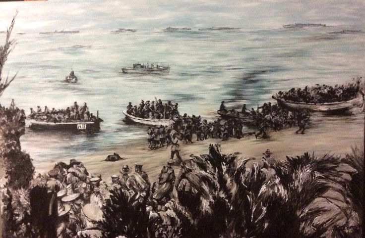 Anzac Cove Gallipoli landing 1915 painted by Paula Benson for the Centenary Celebrations Anzac Day 2015 - commission for members of Manjimup RSL.