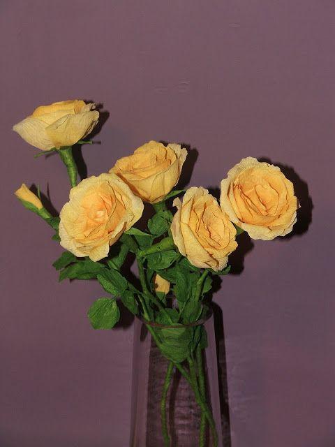 Róże z bibuły, Crepe paper, tissue-paper rose