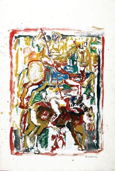 Eugeniusz MARKOWSKI (ur. 1912)  Walka akryl, olej, papier, 61 x 40 cm; sygn. p. d.: E. Markowski