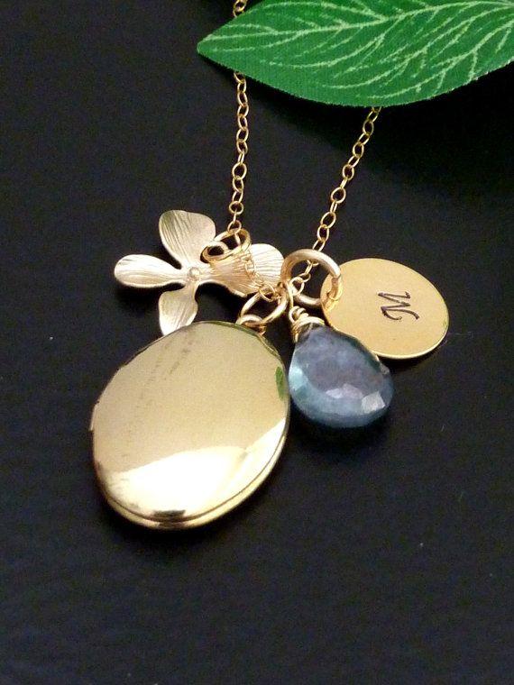 Custom Initial and Stone  Oval Locket Fancy by JCGemsJewelry