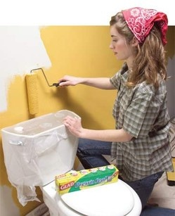 Use plastic wrap against tricky items in a room that can't be moved. Duh!