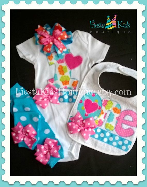 1st Birthday girl outfit -3pc set- bodysuit, leg warmers and headband set, cake smash bib available on Etsy, $49.95