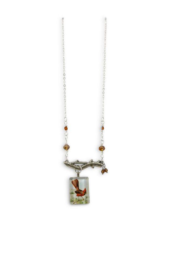 Bird necklace - crimson fantail