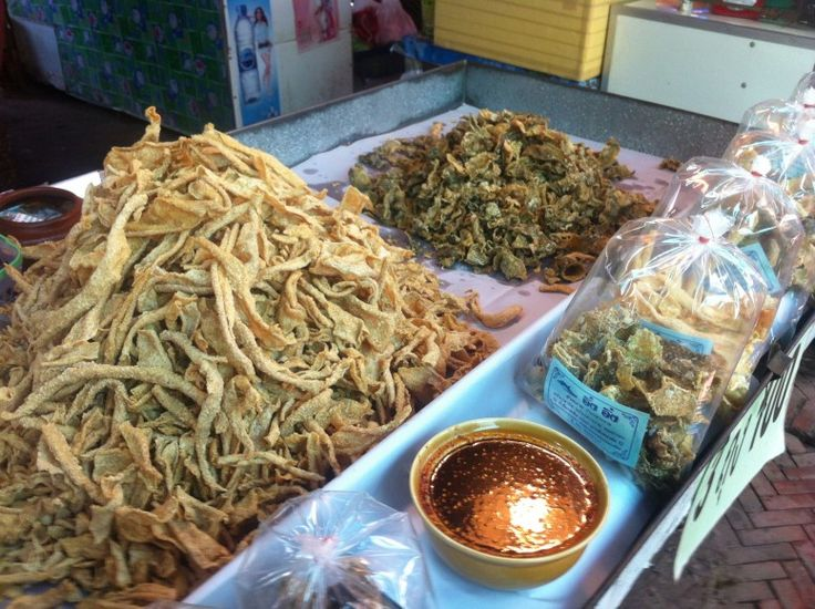Fried treats at food market in Thailand