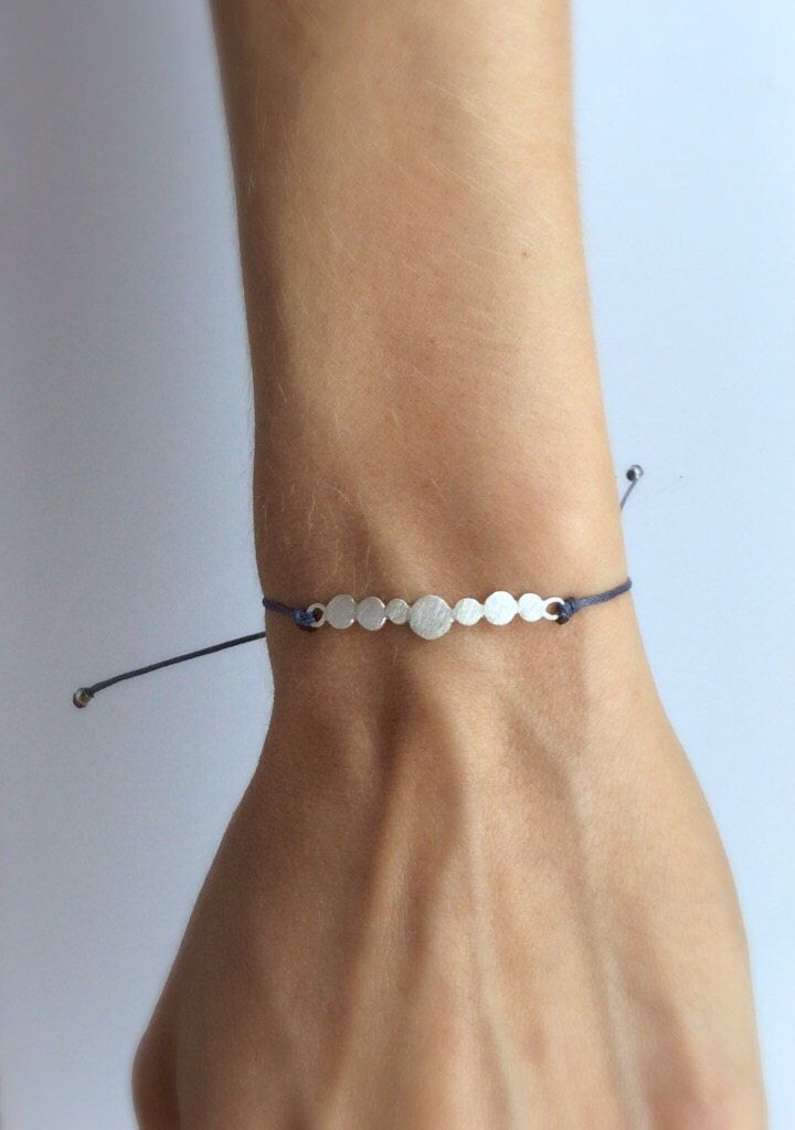 Sea pebble bracelet, sterling silver bracelet, simple bracelet, every day bracelet, thin bracelet