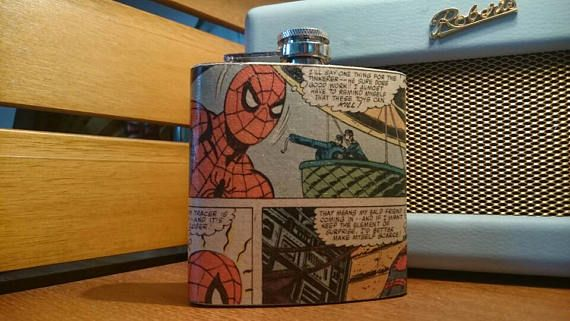 Hey, I found this really awesome Etsy listing at https://www.etsy.com/uk/listing/517870128/spiderman-comic-book-hip-flask
