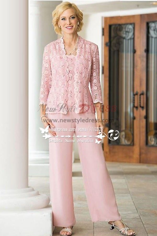 3pc pink lace trousers set mother of the bride pant suits for Wedding dress pant suits