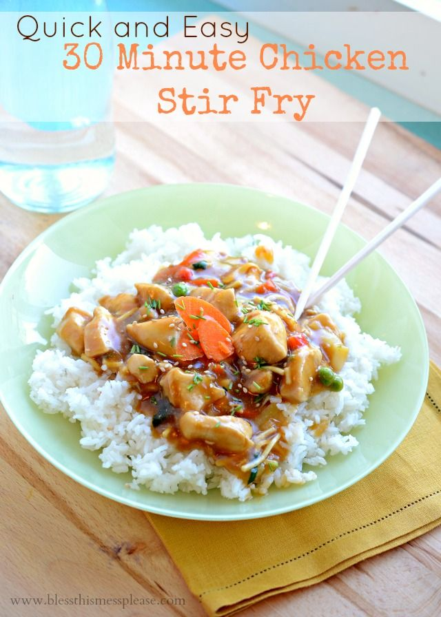 Quick and Easy 30 Minute Chicken Stir Fry on { lilluna.com } #stirfry