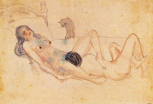 c0c0nut-jam: Pablo Picasso, Two nudes and a cat, 1903