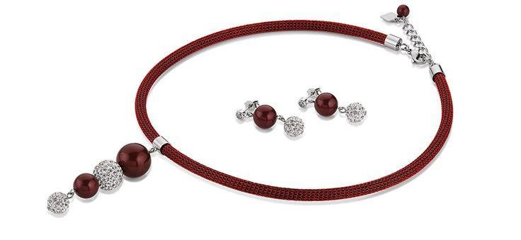 Swarovski Pearl Drop Red necklace and earrings 4833_0321 – coeur de lion jewellery